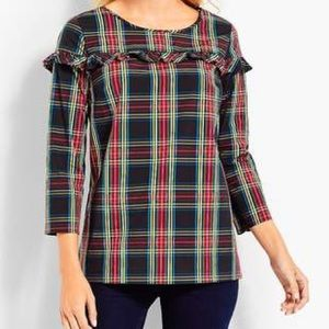 Tops - Talbots Plaid Poplin Popover Blouse